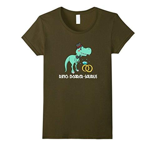 Womens Ring Bearer-Saurus - Funny T-Rex Dinnosaur Wedding T-Shirt Large Olive by Ring Bearer Wedding Dinosaur Tees