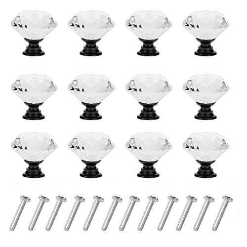 D-buy 12 Pack 30mm Cabinet Knobs Drawer Pulls Drawer Knobs Dresser Knobs Diamond Shaped Crystal Glass with Screws (Black)