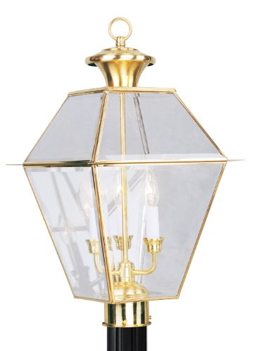 Cheap Livex Lighting 2384-02 Outdoor Post with Clear Beveled Glass Shades, Polished Brass