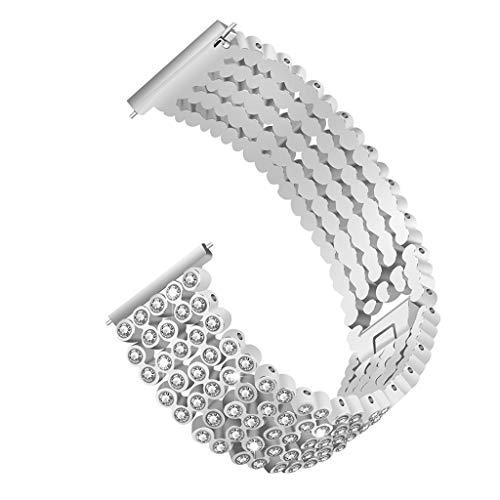 (Kariwell Stainless Steel Diamond Wristband Replacement Strap for Fitbit Versa Lite Kari-4)
