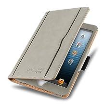 iPad Mini 4, 3, 2, and 1st Generation Case, JAMMYLIZARD The Original Gray & Tan Leather Smart Cover