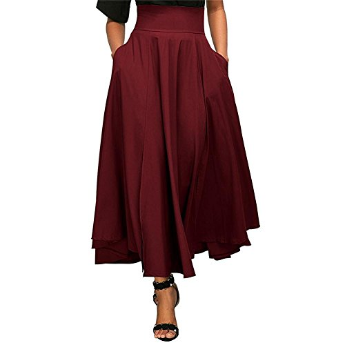 c Femme Poche Jupe wangwtry sur plisse Rouge Jupe t Ceinture surleve Haute Jupe Taille Fendue Rtro Le Vin vase YF5YqEPrn