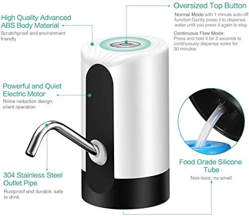 水ボトルポンプ、USB充電付き5ガロンボトル自動飲料水ディスペンサー、家庭、キッチン、オフィス、旅行、キャンプ用の自動シャットオフ付き電気ポータブル水差しポンプ,黒