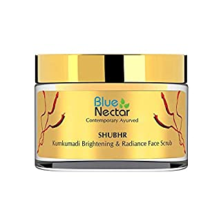 Blue Nectar Ayurvedic Kumkumadi Brightening and Anti Ageing De-tan Face Scrub - 50Gm