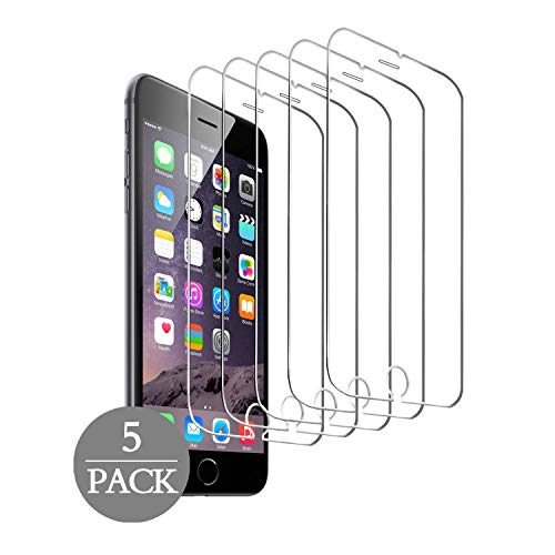 (GWL [5 Pack] Screen Protector Compatible with iPhone 8 Plus, iPhone 7 Plus, iPhone 6S Plus, iPhone 6 Plus, Tempered Glass Screen Protector, 5.5 inch, 3D Touch, Anti-Scratch, Case Friendly)