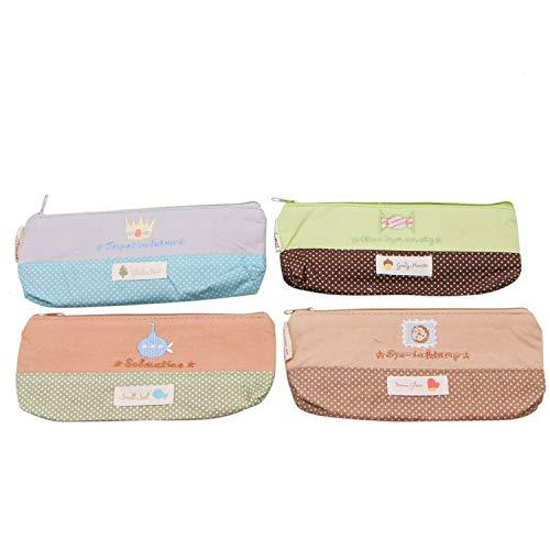 JETEHO Set of 4 Cute Canvas Pencil Bag Pen Case Pouch Pencil Holder Stationery Pouch Bags Cosmetic Makeup Bag Purse Organizer Travel Bag