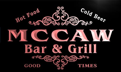 u29192-r MCCAW Family Name Bar & Grill Home Beer Food Neon Sign