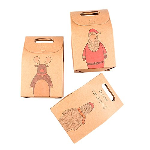 - GOOTRADES 9 Pack Mini Christmas Kraft Paper Gift Bags,Cookie Candy Wrap Retail Bags Party Supplies