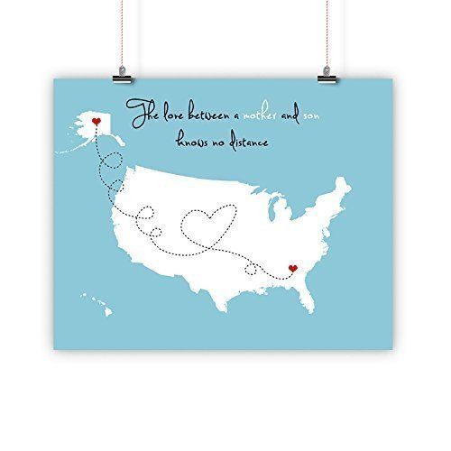 Mother's Day Gift, Birthday Father Long Distance Relationship Map, Mother and Son, Daughter, Print, Framed or Canvas