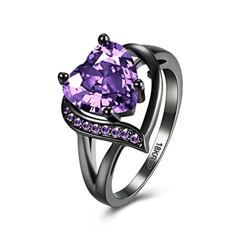 FENDINA Black Gold 18K Wedding Ring Heart Emerald Dark Purple Amethyst Inlay Fashion Ruby CZ Created Ring Engagement (Diamond Ring Sale compare prices)