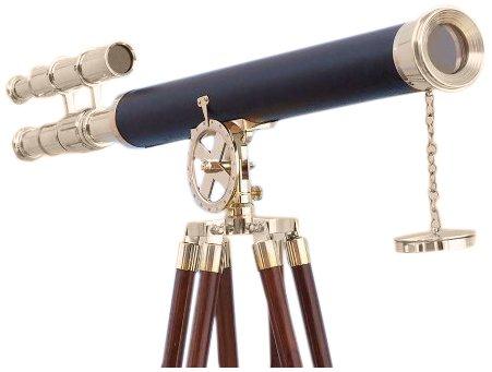 Hampton Nautical  Floor Standing Brass/Leather Griffith Astro Telescope, 64