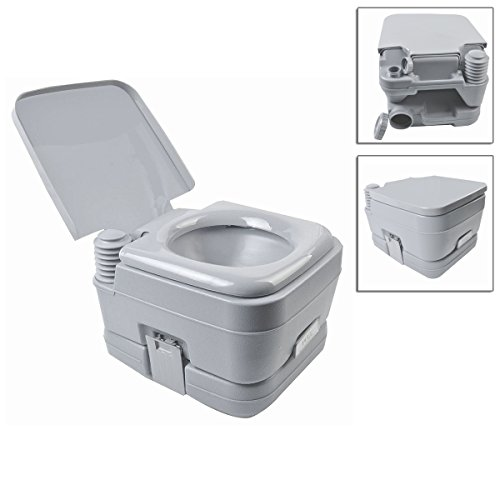 Price comparison product image 10L 2.8Gallon Gray Portable Toilet Outdoor/Indoor Potty Flush Sturdy And Strong Construction Easy To Carry TSE124A