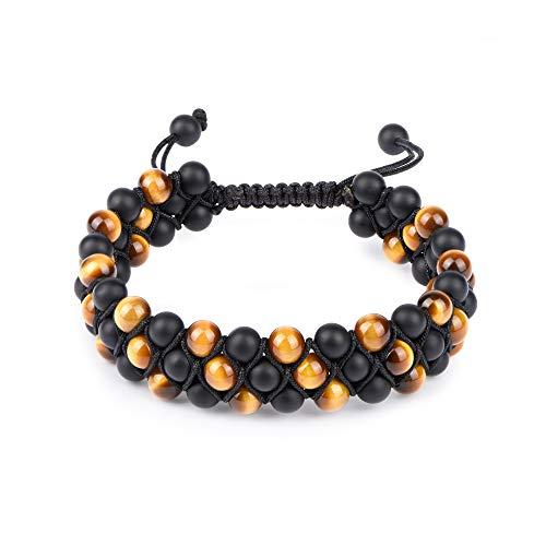 Onyx Eye Black - HASKARE Mens Bead Bracelet Tigers Eye Black Onyx Diffuser Lava Rock Tennis Yoga Healing Natural Stone Bracelet