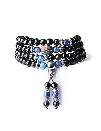 COAI Unique Gift Multilayer Tiger Eye and Obsidian Malas Prayer Beads Bracelet