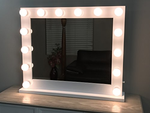 White Lighted Hollywood Makeup Vanity Mirror with Dimmer,Large Size 31 x 25, -