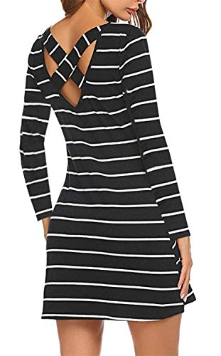 Women T Shirt Dress Pockets Long Sleeve Striped Causal Criss Cross Junior Tunic