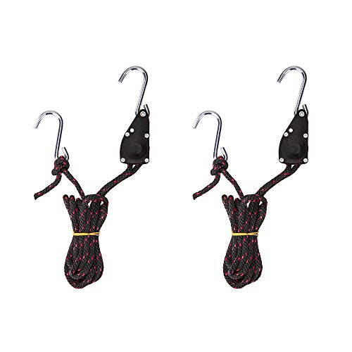 AA Products Ratchet Kayak and Canoe Bow and Stern Tie Down Straps Adjustable Rope Hanger (1/4 x 10, 2pcs,300LBS/Pair)