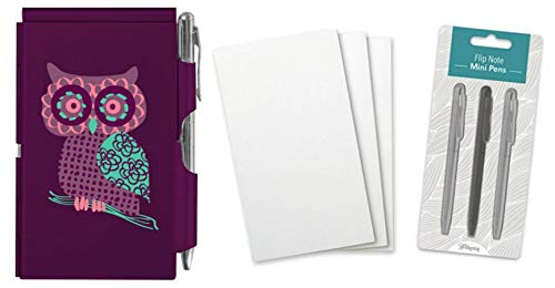 Wellspring Flip Note Notepad Set: Purple Owl Flip Note, 3 Flip Note Refill Pads and a 3 Mini Pen Refill