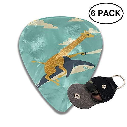 Colby Keats Guitar Picks Plectrums Giraffe and Shark Classic Electric Celluloid Acoustic for Bass Mandolin Ukulele 6 Pack 3 Sizes .96mm -