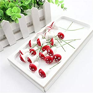 10pcs/lot Mini Artificial Plastic Fruit Small Berries Artificial Flower red Cherry Stamen Pearlized Wedding Christmas Decorative,Mushrooms Berries 3