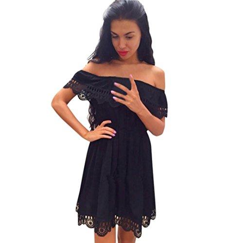 08b12b5aa3 Slim Solid Couleur Robe Cou Au 2018 De Plage Slash Mini D'été Jupe Dress  Trim Genou Dentelle Soirée Femmes ...