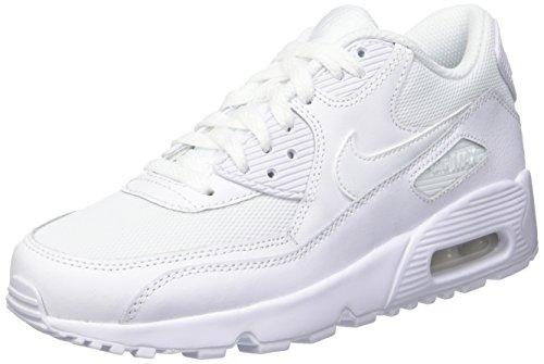 Nike Air Max 90 Mesh Gs 833418-100 Kinder, Weiß Weiß (Blanc/Blanc)
