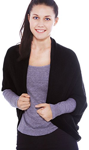 Simplicity Women's Soft 3/4 Sleeved Crochet Wrap Cardigan Shawl, Black