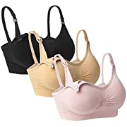 iLoveSIA 3pack Nursing Bra Black+Beige+Light Pink Size L Fit 36BC 34C 32D 30DD 30DDD