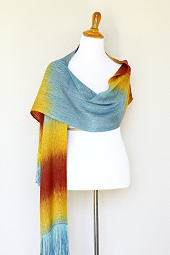Woven scarf, pashmina scarf, gift for her, women scarf gradient color blue orange yellow long scarf with fringe by KGThreads