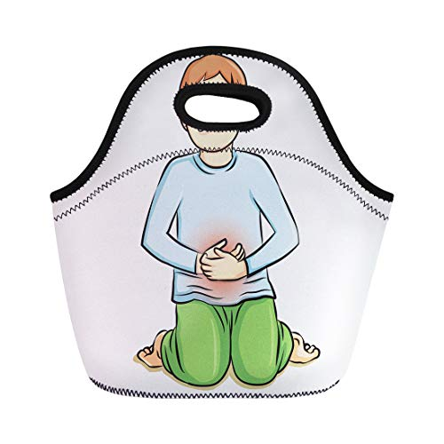Semtomn Lunch Bags Abdomen Human Hold Hands at the Stomach Because Pain Neoprene Lunch Bag Lunchbox Tote Bag Portable Picnic Bag Cooler Bag