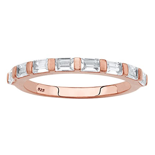 - Seta Jewelry Rose Gold Plated .925 Sterling Silver Stackable Ring White Baguette-Cut Cubic Zirconia