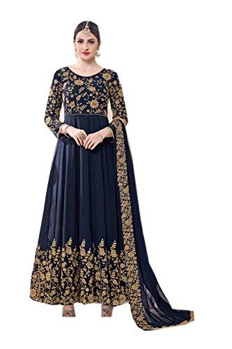 Asmafashion Store Indian Women Designer Partywear Ethnic Traditonal Navy Blue Anarkali Salwar Kameez by Asmafashion Store