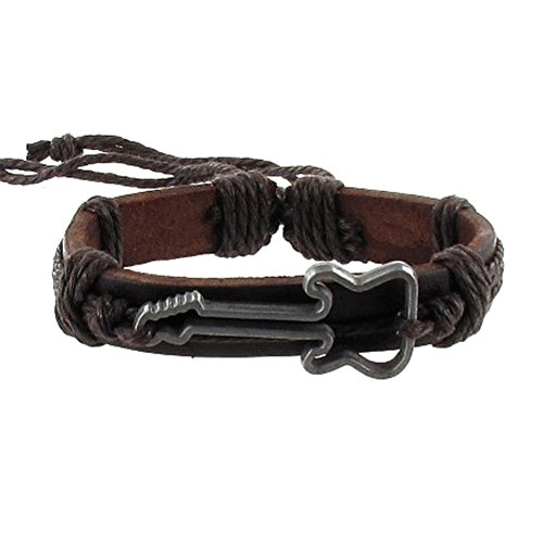 Belt Wrap Rope Leather Unisex Bracelet with Guitar and Brown Trim- Adjustable (Music Guitar Necklace)