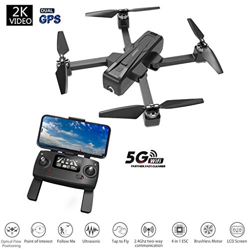 Lowest Price! JJR/C New Aerial Drone X11 5G WiFi FPV with 2K HD PTZ Camera GPS Multiple Positioning Brushless Foldable RC Quadcopter with Single-axis Gimbal with Battery (Black)