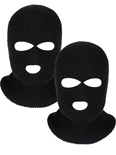 WILLBOND 2 Pieces Knitted Full Face Cover 3-Hole Ski Mask Winter Balaclava Face Mask for Adult Supplies (Black)]()