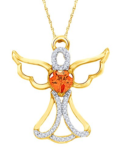 14K Yellow Gold Over Sterling Silver 0.125 CT Diamond Angel Heart Pendant 18