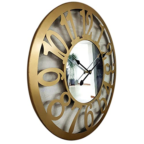 24 inch Mirrored Wall Clocks for Living Room Decor Modern Oversized Wall Clock,Metal Frame & Large Arabic Numerals,Gold