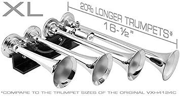Super Loud dB 4 Air Horn Chrome Plated Trumpets XLong Fits 12v Vehicles Like Semi//Pickup//Jeep//RV//SUV VXH4124XLC Vixen Horns Train Horn for Truck//Car