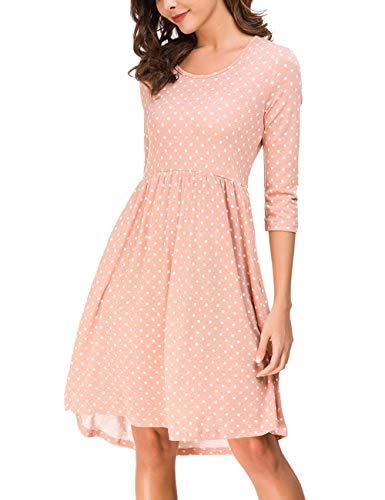 Women's Midi Dress 3/4 Sleeve Polka Dot O Neck Casual Tunic Pleated Loose Vintage Retro Swing Dresses (M, Pink)