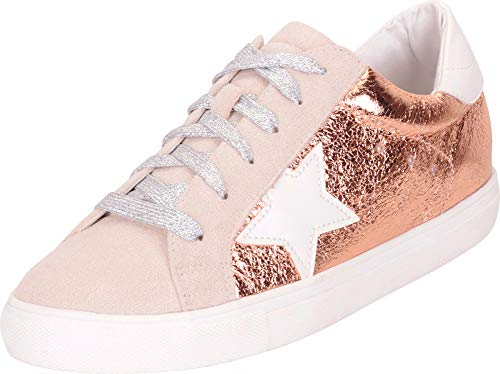 Cambridge Select Women's Low Top Round Toe Star Lace-Up Fashion Sneaker,10 B(M) US,Rose Gold