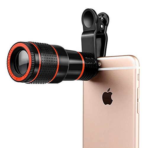 Rumfo Mobile Cell Phone Camera Lens Kit 12X Telephoto Optical Zoom Telescope Lens with Universal Clip for iPhone Samsung Galaxy HTC Huawei LG Sony and other Android Smartphone, Tablet (Black) by Rumfo