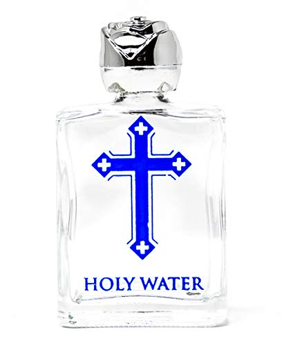 Lourdes Gifts -Glass Blue Cross Holy Water Bottle (Silver Top) - Containing Lourdes Water + Prayer Card: Amazon.co.uk: Kitchen & Home