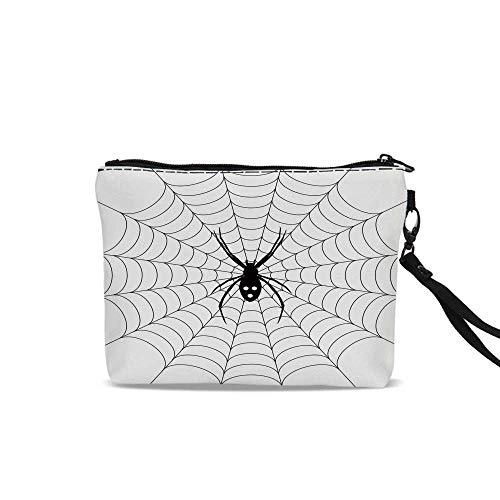 Spider Web Portable Travel Makeup Cosmetic Bags,Poisonous Bug Venom Thread Circular Cobweb Arachnid Cartoon Halloween Icon Decorative For Women Girl,9