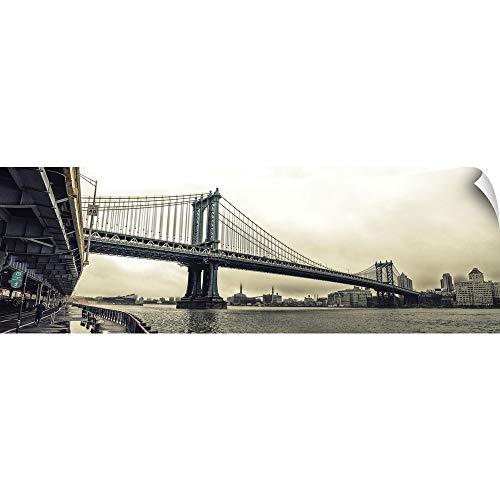 CANVAS ON DEMAND Manhattan Bridge Panoramic View Wall Peel Art Print, 48