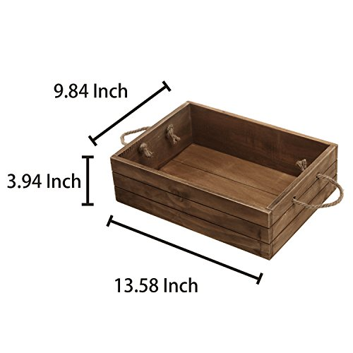 Rustic Style Wood Storage Crate, Open Top Organizer Bin with Rope Handles, Brown by MyGift (Image #4)