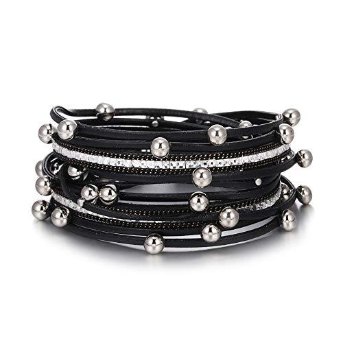 VONRU Leather Wrap Bracelet for Women - Charm Boho Multilayer Gorgeous Bracelets Wristbands - Casual Braided Handmade Magnetic Bracelet Cuff Bangle Gift for Monther (Black Bead wrap Bracelet)