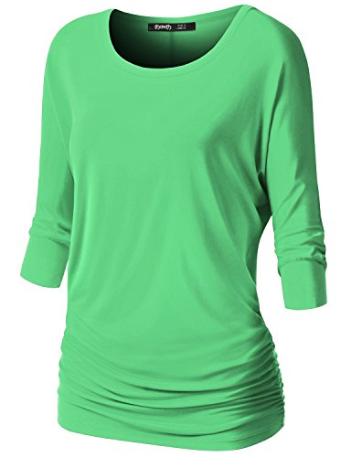 TWINTH Women's 3/4 Sleeve Dolman Drape Top with Side Shirring Loose Fit Tunic Top LightGreen M