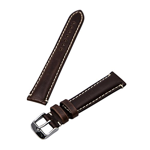 Oil Tan Leather Brown Heavy Padded Stitched 18mm Watch Strap by Hadley Roma ()