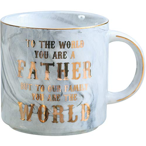 Dads Mug - Fathers Day Birthday Gifts for Dad - To the World You Are a Father But To Our Family You Are the World - Ceramic Marble Cups 13 oz (Grey)
