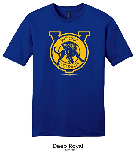 Throwbackmax 1967 WHL Victoria Cougars Hockey Tee Shirt (XL, Deep Royal)